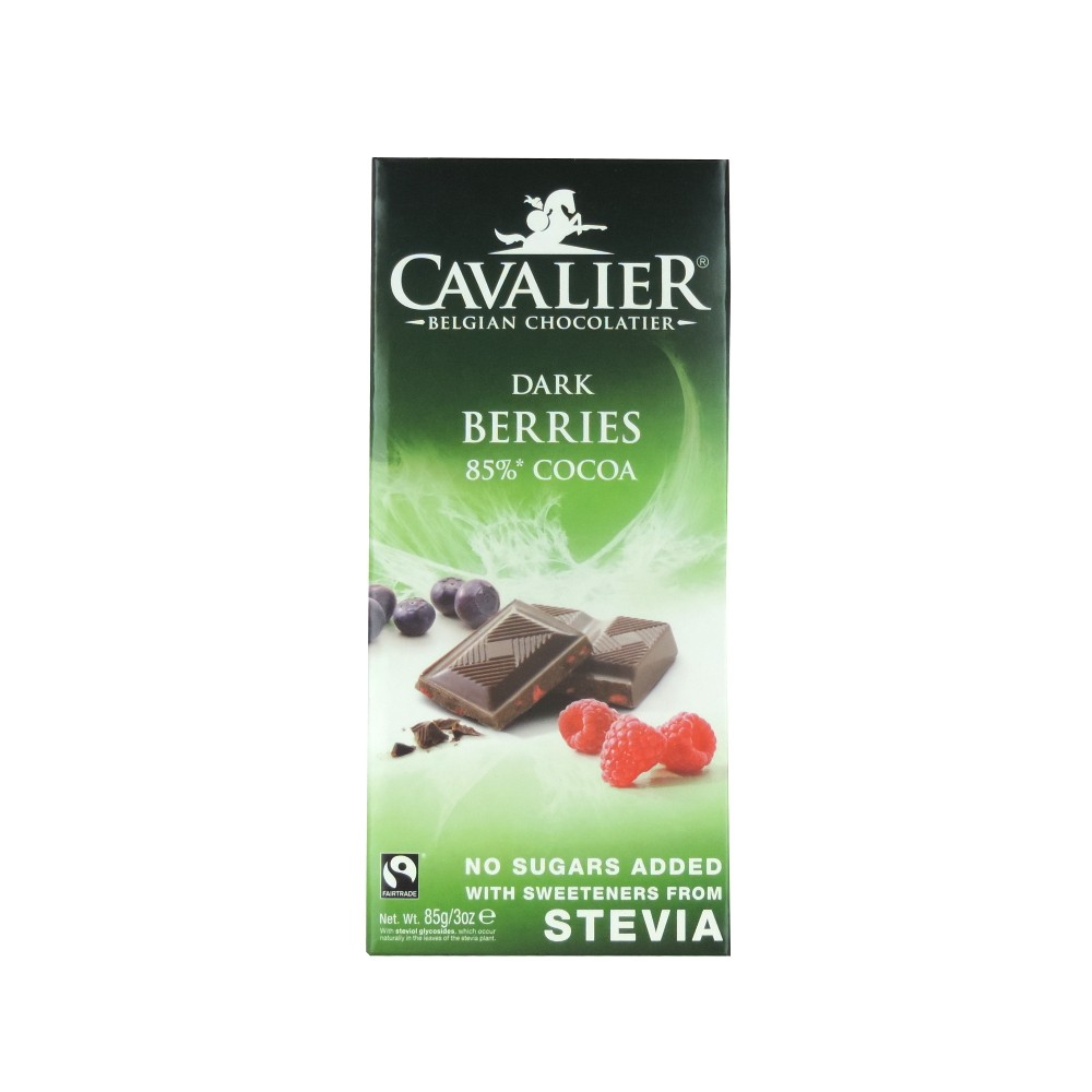 Cavalier Stevia 85% Dark Chocolate with Berries Tablet  85g