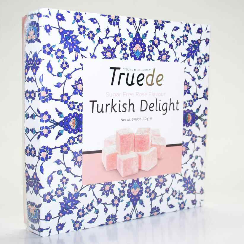 Truede Sugar Free Rose Turkish Delight 110g vegan