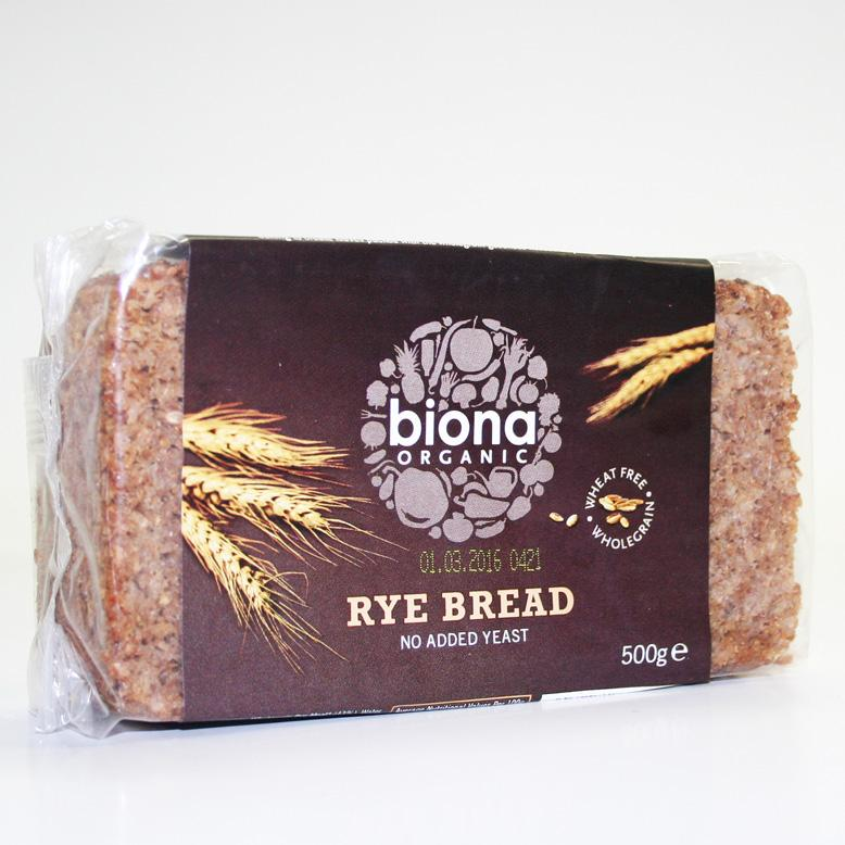 Biona Rye Bread Wholegrain 500g pack No added Yeast