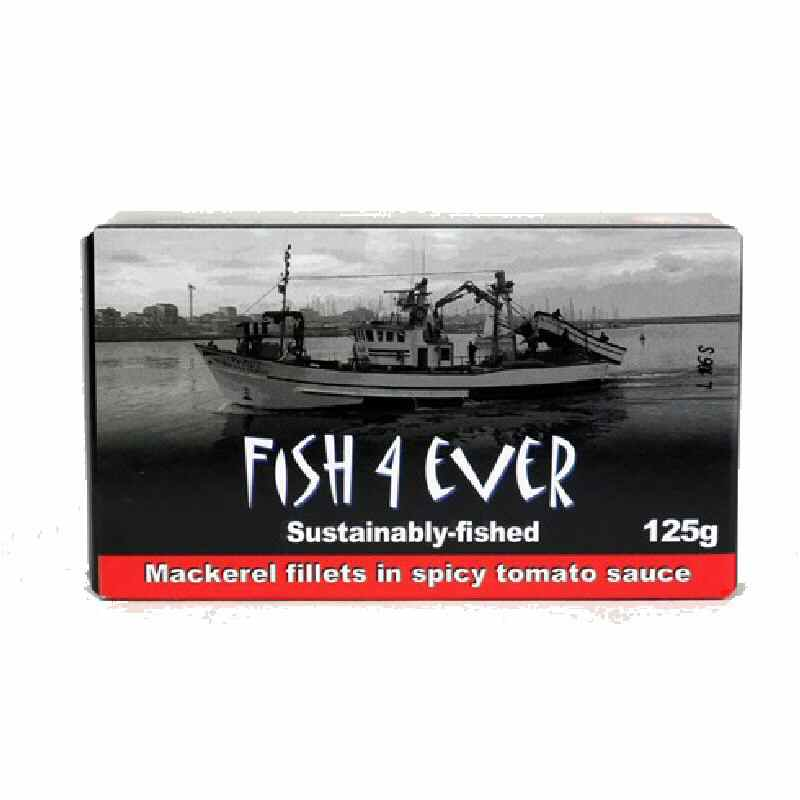 Fish 4 Ever Mackeral Fillets in Spicy Tomato Sauce 125g