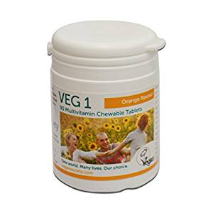 vegan Society Veg 1 supplement 90 chewable tabs Orange