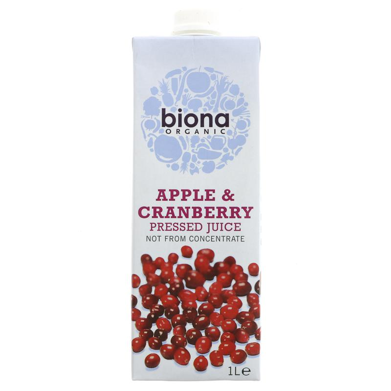 Biona Organic Apple & Cranberry Juice pure unsweetened NOT from concentrate 1L