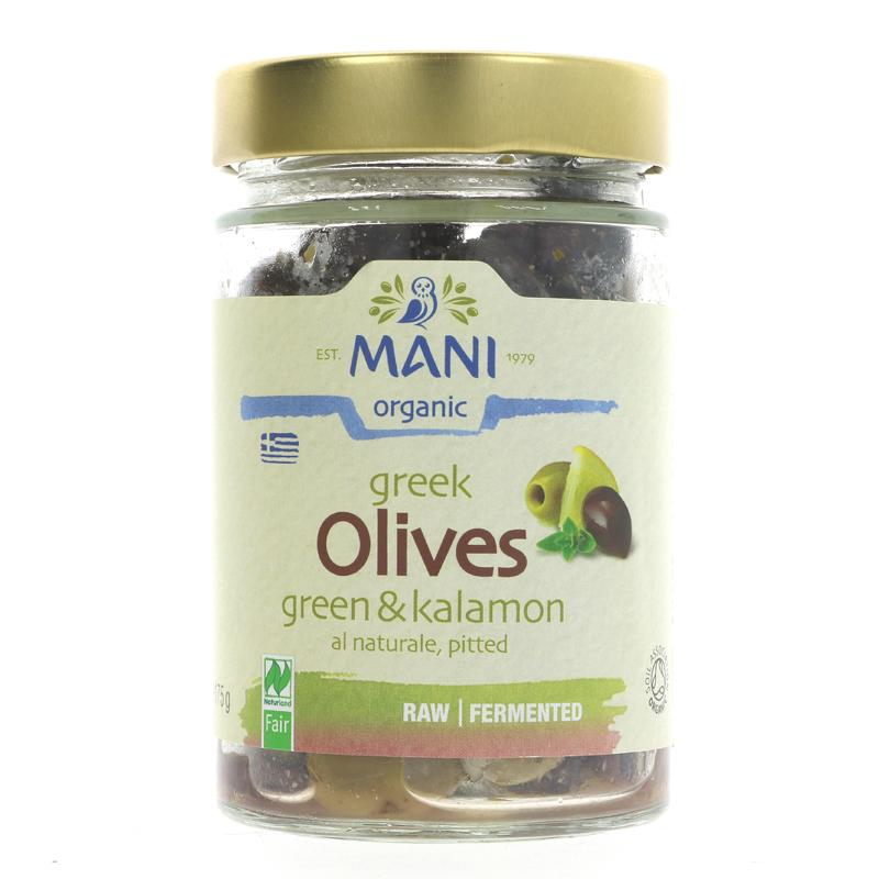 Mani Greek Green & Kalamon olives organic 175g