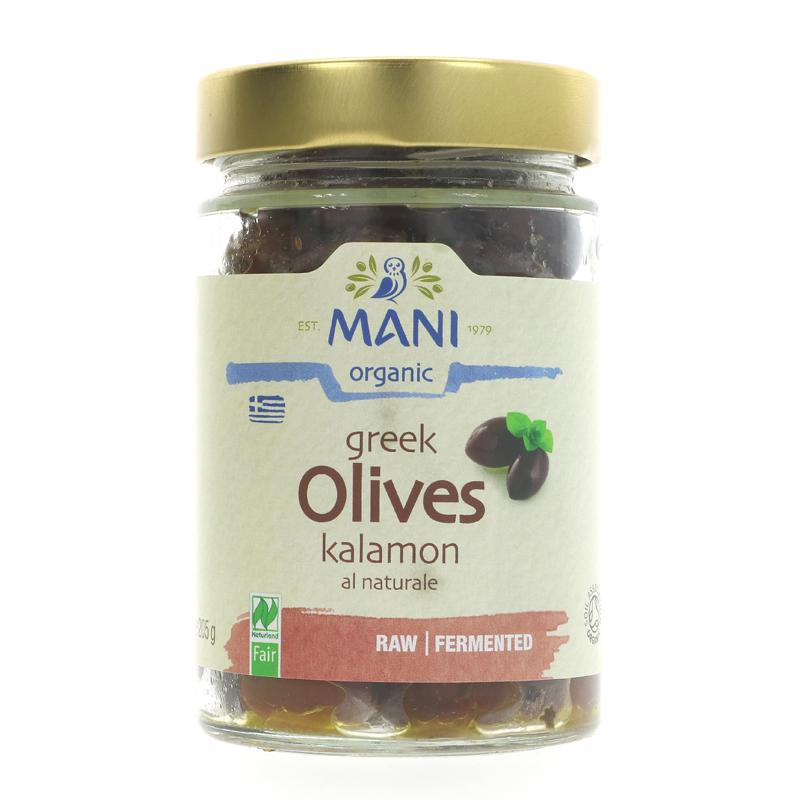 Mani Greek Kalamon olives organic 205g Naturelle raw & fermented