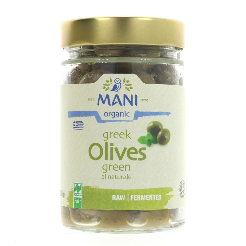 Mani Green Olives Naturelle, raw, fermented 205g