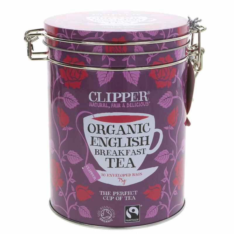 Clipper Tea Caddy  Breakfast Tea Contains 30 envelopes.