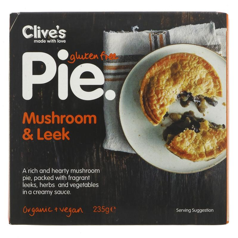 Clive's Pies mushroom and leek pie vegan and gluten free