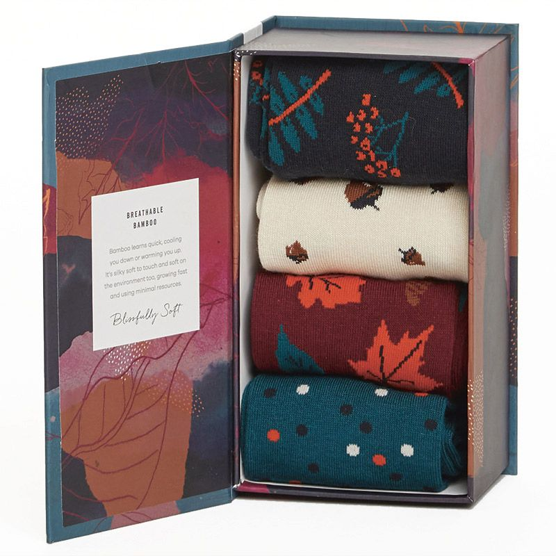 Amnesty Gifts Autumn Leaves Bamboo Socks Gift box    Size 4-7